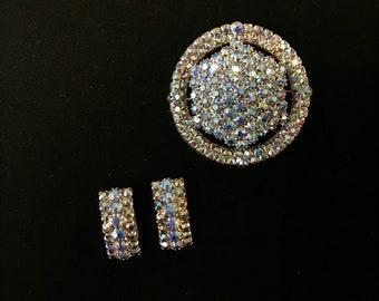 Aura Borealis Brooch & Earring Set