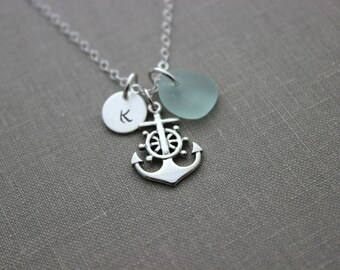 Nautical Sterling Silver anchor with wheel necklace with genuine Seaglass and mini Initial Charm, Personalized beach jewelry  Ship helm