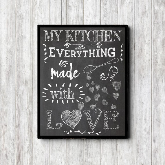 Chalkboard Kitchen Wall Art Kitchen Quote Print My Kitchen