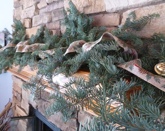 Real pine greenery for Christmas garland. Complete kit for making your own mantle swags,stair rails and more .5 Pound box of noble greenery.