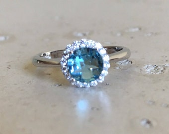 Small Promise Ring- Round Blue Engagement Ring- Aquamarine Classic Wedding Ring- Blue Topaz Anniversary Ring- Halo Anniversary Ring