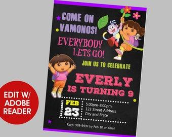 Dora the Explorer Birthday Invitation, Dora the Explorer Invitation, Dora the Explorer, Birthday Invitation, Birthday Invite, Invite