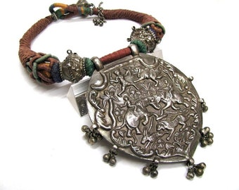 Antique Indian Amulet Necklace, Mughal Era Pendant Necklace, Old India Amulet, Large Indian Amulet, High Grade Silver, 235 Grams, Ethnic