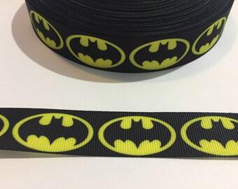 "3 Yards of 7/8"" Ribbon - Batman Black and Yellow"