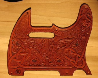 "Custom Hand Tooled Leather ""Telecaster"" Pickguard, Celtic/Floral (made to order)"
