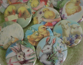 Vintage Easter Images Party Favors Pinback Buttons, Mirrors, or Magnets 2.25 inch Set of 12 Chicks Bunnies Lambs Easter Eggs Your Choice