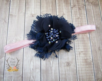 Navy Blue Headband - Your Choice Pink or Navy Glitter Elastic - Flower Girl - Lace Flower - Newborn Infant Baby Toddler Girls Adult Wedding