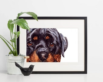 Rottweiler Dog Portrait Art Painting Gift ~ Rottweiler (Rotti) Art Print ~ Custom Dog Portraits ~  Pet Memorial