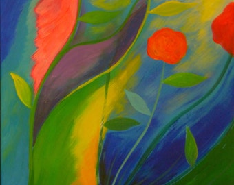 Vibrant Flowers Abstract Flower Painting On Canvas Whimsical Art Bright