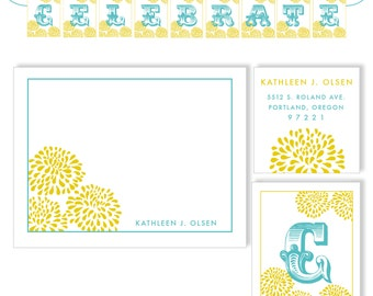 Bloom Stationery Set includes: celebrate banner, labels, stationery and envelopes