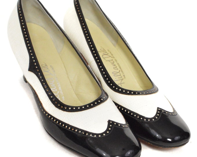Vintage 80 Hill and Dale Two-Tone Black and White High Heels Pumps Shoes Sz 9.5