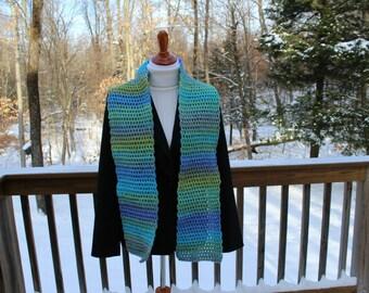 Crochet Mesh Scarf, Tweed Stripes Scarf, Womens Scarf, Winter Fashion, Neckwarmer
