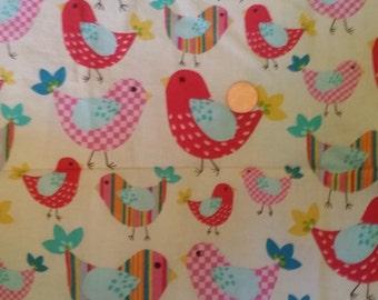 100% Cotton Colorful Bird Fabric Fat Quarter