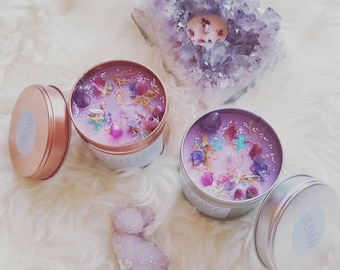 Handmade Crystal Candle With Amethyst Healing Stone