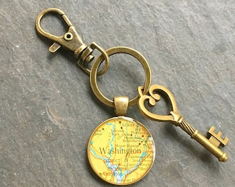 Washington DC Keychain Bronze with Ring Swivel Clasp and Key  Vintage Map