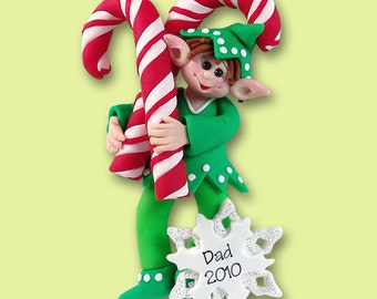 Elf with Candy Canes HANDMADE Polymer Clay Personalized Christmas Ornament