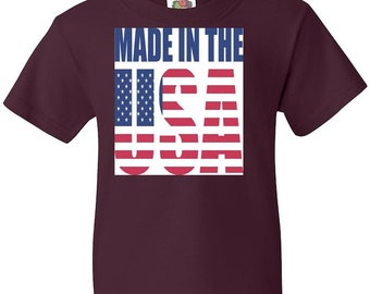 Youth Tee - Made in the USA Children America Tees Tshirt Shirt