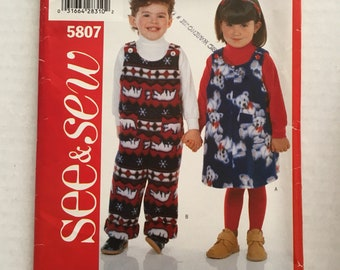 Jumpsuit Pinny Dress Jumper Butterick See & Sew 5807 Size 1 2 3 4 Toddler Boys Girls Sewing Pattern Uncut Factory Folded UC FF