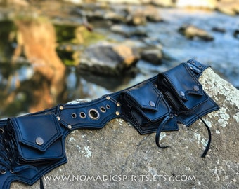 VEGAN LEATHER Utility belt with 6 pockets adjustable pixie hippie pouch tribal fantasy festival bag medicine pouch bumbag psytrance