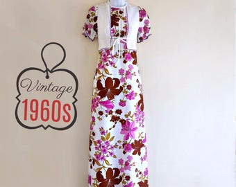 Vintage 60s Dress Hippie Maxi Maxidress Floral Hippy Purple Size Small
