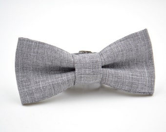 Boys Bow Tie in Light Gray Suiting Material, Boys Gray Bow Tie, Children's Bow Tie, Ring Bearer Bow Tie, Wedding Bow tie