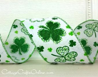 """St. Patricks Wired Ribbon, 2 1/2"""", Shamrocks Emerald Green Glitter, THREE YARDS,  Offray """"Keegan"""", Irish, St Patrick Wire Edged Ribbon"""