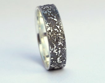 Silver Chaos - Oxidized Sterling Silver Rustic Wedding Band, His and Hers