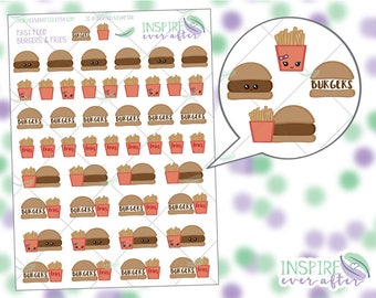 Burger and Fries ~ Kawaii Fast Food Icons ~ Planner Stickers