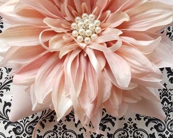 Blush Pink Dahlia Ring Bearer Pillow Pearl Rhinestone Accent Wedding Ring Pillow