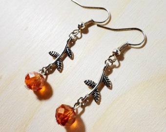 Orange Flower Earrings, Crystal Bead Earrings, Beaded Dangle Earrings, Silver Drop Earrings, Teen and Women's Beadwork Jewelry, Gift Idea