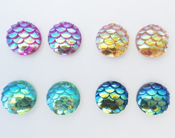 Mermaid Tail Fish Scales Iridescent Magnetic Earrings Set of 4 pairs Clip on non pierced ears 10 mm