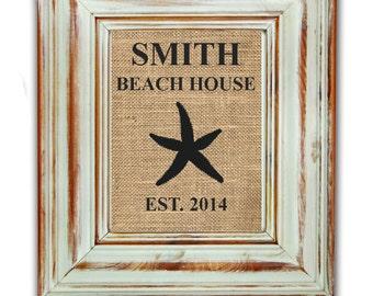 Custom Beach House Print / Burlap Art Print / Burlap Print / Shabby Chic Home Decor / Housewarming Gift / Beach Art / Beach House Decor