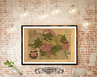Antique map of Tartary, northern and central Asia, 1706, large map, fine reproduction, oversize map print, fine art print, antique decor