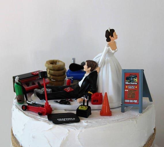 humorous wedding cake topper mechanic grooms cake