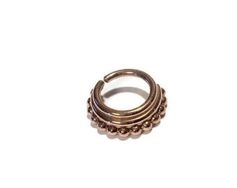 Solid 14 Karat Rose Gold Triple Layered Septum Ring ~ Nose Ring ~ Nostril Piercing ~ Helix ~ Conch Jewelry ~ Cartilage Earring