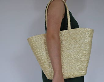 Straw basket with long handles, market bag, market basket, Straw Bag, Summer Bag, Beach Bag, Straw Tote, Beach Tote, Christmas gift.