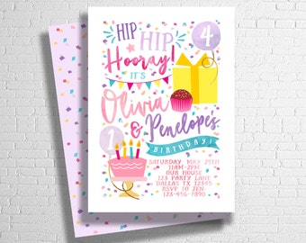 Joint Birthday Invitation | Confetti Birthday invite | Balloons Cake Presents | Sibling Birthday Invitation | DIGITAL FILE ONLY