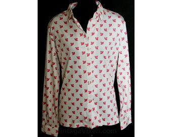 Size 10 Novelty Print Top - Hot Pink Frogs Print 1970s Shirt - Medium Long Sleeved 70s Casual Top - Cute 70's Deadstock - Bust 39 - 33152-2