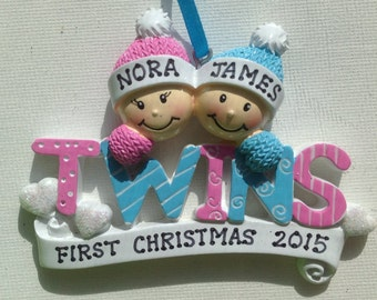 Personalized Twins Boy /Girl's First Christmas Ornament Gift Newborn, 1st Birthday , Birth Announcement , Christening Favors