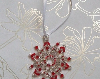 FROZEN Christmas Beaded Snowflake Ornament with Swarovski Crystals in Red and Silver