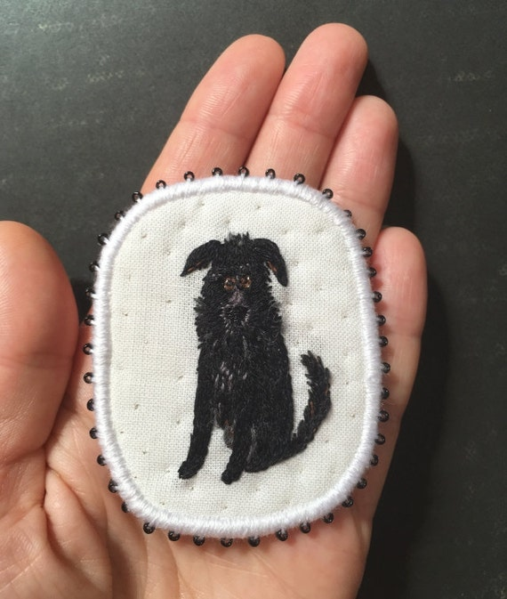Embroidery Dog Brooch Trouper Funny Dogs - collection, hand embroidered textile dog jewelry. Terriermix brooch. Black dog.