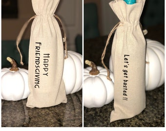 Wine bags | friendsgiving | linen wine bag| Friendsgiving Gift| Thanksgiving Wine Bag Gift