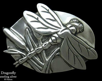 Dragonfly Belt Buckle in Sterling Silver or Yellow Brass