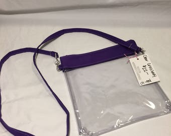 Crossbody Bag Clear Purse Stadium Bag Purple Clear Handbag Game Bag Monogrammed Tote Bag Clear Crossbody Bag Football Game Bag Clear Stadium