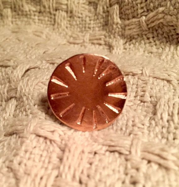 Big round copper handstamped ring #2