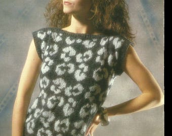 1980s Leopard Print Knitted Jumper PDF Pattern Instant Download