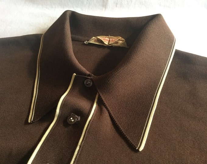 Lord Jeff Vintage Mid Century Mens Large Stretch Knit Polo Shirt