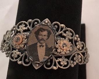 Antique Tintype Brass Filagree Bracelet