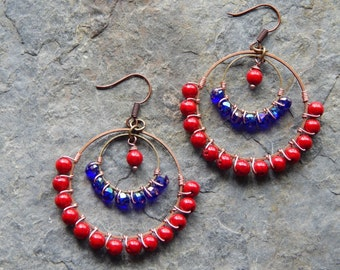 Beaded Hoop earrings, colorful wire wrapped hoops, royal blue and bright red, gypsy chandelier earrings, boho style, bohemian jewelry