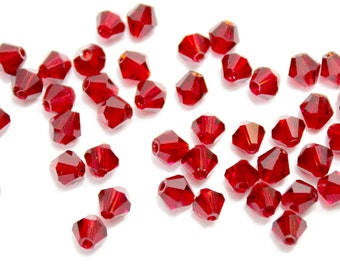 4mm Dark Red Bi Cone Crystal Beads. (20) Blood Red Crystal Beads for Jewelry. Deep Red BiCone Crystals for Making Necklaces. Red Glass Beads